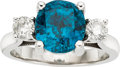 Estate Jewelry:Rings, Blue Zircon, Diamond, White Gold Ring. ...