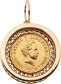 Estate Jewelry:Pendants and Lockets, Synthetic Sapphire, Gold Coin, Gold Pendant. ...