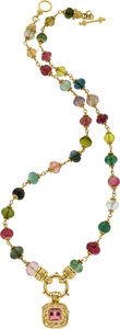 Estate Jewelry:Necklaces, Tourmaline, Diamond, Gold Necklace, Marya Dabrowski. ...