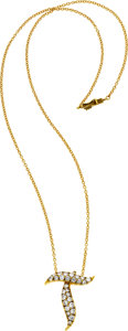 "Estate Jewelry:Necklaces, Diamond, Gold ""T"" Pendant Necklace. ..."