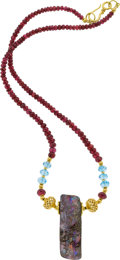 Estate Jewelry:Necklaces, Boulder Opal, Ruby, Topaz, Gold Necklace. ...