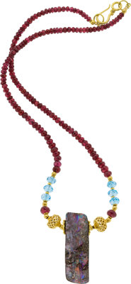 Boulder Opal, Ruby, Topaz, Gold Necklace