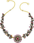 Estate Jewelry:Necklaces, Antique Ruby, Diamond, Gold, Silver Necklace. ...