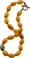 Estate Jewelry:Necklaces, Amber, Gold, Silver Necklace, Yossi Harari. ...