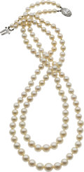 Estate Jewelry:Necklaces, Cultured Pearl, Diamond, Platinum Necklace. ...