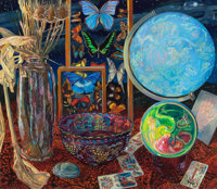 JANET I. FISH (American, b. 1938) Crystal Ball, 1993 Oil on canvas 52-1/2 x 60 inches (133.4 x 15
