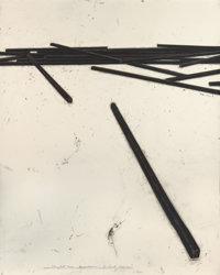 BERNAR VENET (French, b. 1941) Straight Bars - Disorder, 1998 Oilstick and pencil on paper 75 x 6
