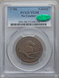 Colonials, 1786 COPPER New Jersey Copper, Date Under Plow, No Coulter VG8 PCGS. CAC. M. 12-G, W-4790, R.4....