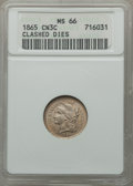 Three Cent Nickels, 1865 3CN -- Clashed Dies -- MS66 ANACS....
