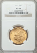 Indian Eagles: , 1912 $10 MS63 NGC. NGC Census: (946/347). PCGS Population(918/281). Mintage: 405,083. Numismedia Wsl. Price for problemfr...