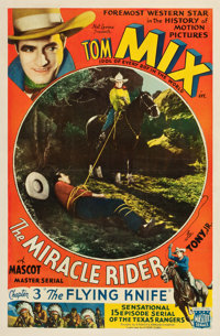 "The Miracle Rider (Mascot, 1935). One Sheet (26.5"" X 40"") Chapter 3 -- ""The Flying Knife."" Serial..."