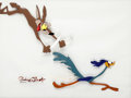 Animation Art:Production Cel, Zoom and Bored Wile E. Coyote and Road Runner Production CelSet-Up Signed by Chuck Jones (Warner Brothers, 1957)....