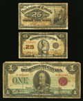 Canadian Currency: , 1900 and 1923 Canadian Notes.. ... (Total: 3 notes)