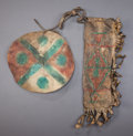 American Indian Art:Pipes, Tools, and Weapons, A PLAINS CHILD'S PAINTED PARFLECHE QUIVER AND SHIELD. c. 1880...