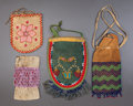 American Indian Art:Beadwork and Quillwork, FOUR GREAT LAKES BEADED POUCHES. c. 1910... (Total: 4 Items)
