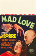 "Movie Posters:Horror, Mad Love (MGM, 1935). Window Card (14"" X 22"").. ..."