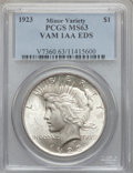 Peace Dollars, 1923 $1 Early Die State, VAM-1AA MS63 PCGS. Minor Variety. PCGSPopulation (70780/92688). NGC Census: (87066/171741). Minta...