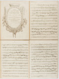 Books:Music & Sheet Music, [Music]. F. A. Hoffmeister. Six Quatuors Concertantes.Vienne: Compl, [nd, circa 1787]. Each part bound into cus...