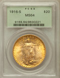 Saint-Gaudens Double Eagles: , 1916-S $20 MS64 PCGS. PCGS Population (1612/1274). NGC Census:(1407/933). Mintage: 796,000. Numismedia Wsl. Price for prob...