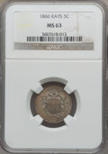 Shield Nickels: , 1866 5C Rays MS63 NGC. NGC Census: (278/734). PCGS Population(349/619). Mintage: 14,742,500. Numismedia Wsl. Price for pro...
