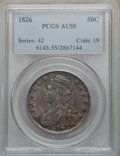 Bust Half Dollars: , 1826 50C AU55 PCGS. PCGS Population (239/642). NGC Census:(194/802). Mintage: 4,000,000. Numismedia Wsl. Price for problem...