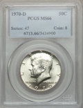 Kennedy Half Dollars: , 1970-D 50C MS66 PCGS. PCGS Population (325/3). NGC Census: (119/5).Mintage: 2,150,000. Numismedia Wsl. Price for problem f...