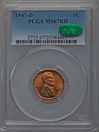 1947-D 1C MS67 Red PCGS. CAC. PCGS Population (68/0). NGC Census: (172/0). Mintage: 194,750,000. Numismedia Wsl. Price f...