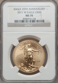 Modern Bullion Coins, 2011-W G$50 One-Ounce Gold Eagle, 25th Anniversary MS70 NGC. NGCCensus: (2311). PCGS Population (203)....