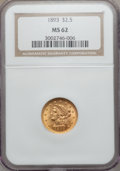 Liberty Quarter Eagles: , 1893 $2 1/2 MS62 NGC. NGC Census: (268/382). PCGS Population(182/376). Mintage: 30,000. Numismedia Wsl. Price for problem ...
