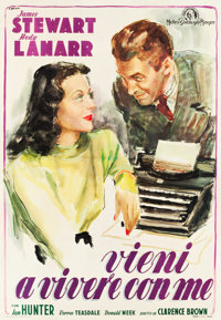 "Come Live with Me (MGM, 1948). First Post-War Release Italian 4 - Foglio (55"" X 78"")"