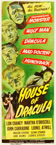 "Movie Posters:Horror, House of Dracula (Universal, 1945). Autographed Insert (14"" X36"").. ..."