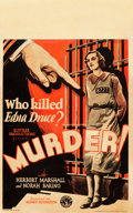 "Movie Posters:Hitchcock, Murder! (Columbia, 1930). Window Card (14"" X 22"").. ..."