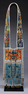 American Indian Art:Beadwork and Quillwork, A CHIPPEWA PICTORIAL BEADED CLOTH BANDOLIER. c. 1870...