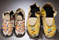 American Indian Art:Beadwork and Quillwork, TWO PAIRS OF PLAINS BEADED HIDE MOCCASINS. ... (Total: 4 Items)