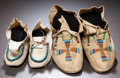 American Indian Art:Beadwork and Quillwork, TWO PAIRS OF PLAINS BEADED HIDE MOCCASINS... (Total: 4 Items)