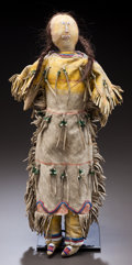 American Indian Art:Beadwork and Quillwork, A CHEYENNE BEADED HIDE FEMALE DOLL. c. 1890...