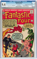 Silver Age (1956-1969):Superhero, Fantastic Four #6 Don/Maggie Thompson Collection pedigree (Marvel,1962) CGC NM 9.4 White pages....