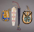 American Indian Art:Beadwork and Quillwork, FOUR PLAINS BEADED HIDE ITEMS ... (Total: 9 Items)