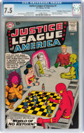 Silver Age (1956-1969):Superhero, Justice League of America #1 Don/Maggie Thompson Collection pedigree (DC, 1960) CGC VF- 7.5 Off-white to white pages....