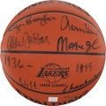 Basketball Collectibles:Balls, Los Angeles Lakers Hall of Famers Multi Signed Spalding LeatherBasketball, With Chamberlain. ...
