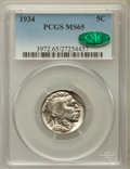 Buffalo Nickels: , 1934 5C MS65 PCGS. CAC. PCGS Population (571/206). NGC Census:(294/85). Mintage: 20,213,004. Numismedia Wsl. Price for pro...