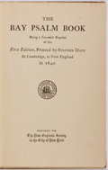 Books:Religion & Theology, Stephen Daye [printer]. The Bay Psalm Book. A Facsimile Reprint of the Original First Edition. New York: New England...