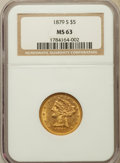 Liberty Half Eagles: , 1879-S $5 MS63 NGC. NGC Census: (25/6). PCGS Population (27/11). Mintage: 426,200. Numismedia Wsl. Price for problem free N...