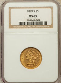 1879-S $5 MS63 NGC. NGC Census: (25/6). PCGS Population (27/11). Mintage: 426,200. Numismedia Wsl. Price for problem fre...