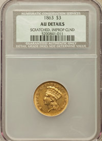 1863 $3 -- Improperly Cleaned, Scratched -- NCS. AU Details. NGC Census: (9/179). PCGS Population (15/109). Mintage: 5,0...