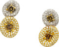 Estate Jewelry:Earrings, Colored Diamond, Diamond, Gold Earrings. ...
