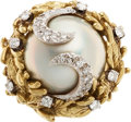 Estate Jewelry:Rings, Mabe Pearl, Diamond, Gold Ring. ...