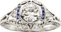 Estate Jewelry:Rings, Edwardian Diamond, Synthetic Sapphire, Platinum Ring. ...
