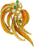 Estate Jewelry:Brooches - Pins, Diamond, Emerald, Enamel, Gold Brooch. ...