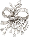 Estate Jewelry:Brooches - Pins, Retro Diamond, Platinum Pendant-Brooch. ...